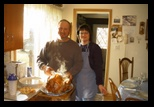 Thanksgiving at Sherri and Gary's November 28 2002 - Sherri and Gary prsent the steaming turkey